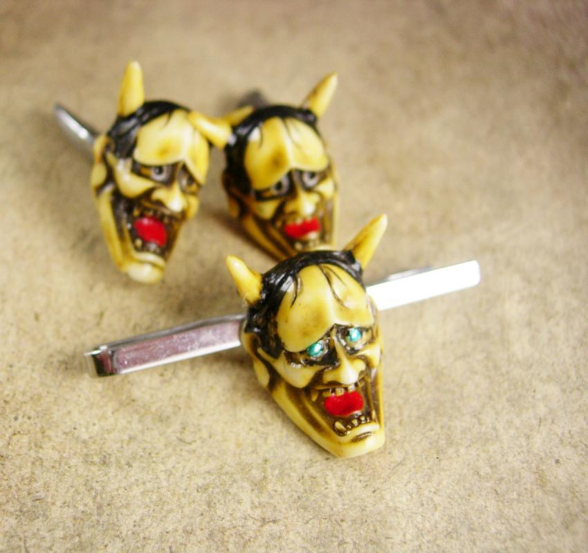Vintage devil cufflinks demon Japanese God  tie clip