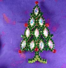 HUGE vintage Christmas Tree Brooch 4 1/2