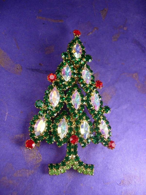 HUGE vintage Christmas Tree Brooch 4 1/2