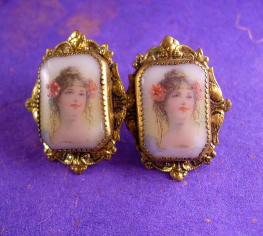 Antique Earrings Neoclassical PORTRAIT Victorian screw on porcelain womans face