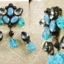 Rare Beauty Demi parure Brooch earrings poured dangle glass drops signed Austria