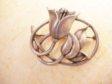 Large Vintage Sterling Funeral Flower Brooch hallmarked
