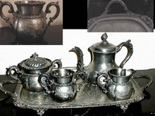 SIGNED Victorian Silver Tea set Tray 4pcs