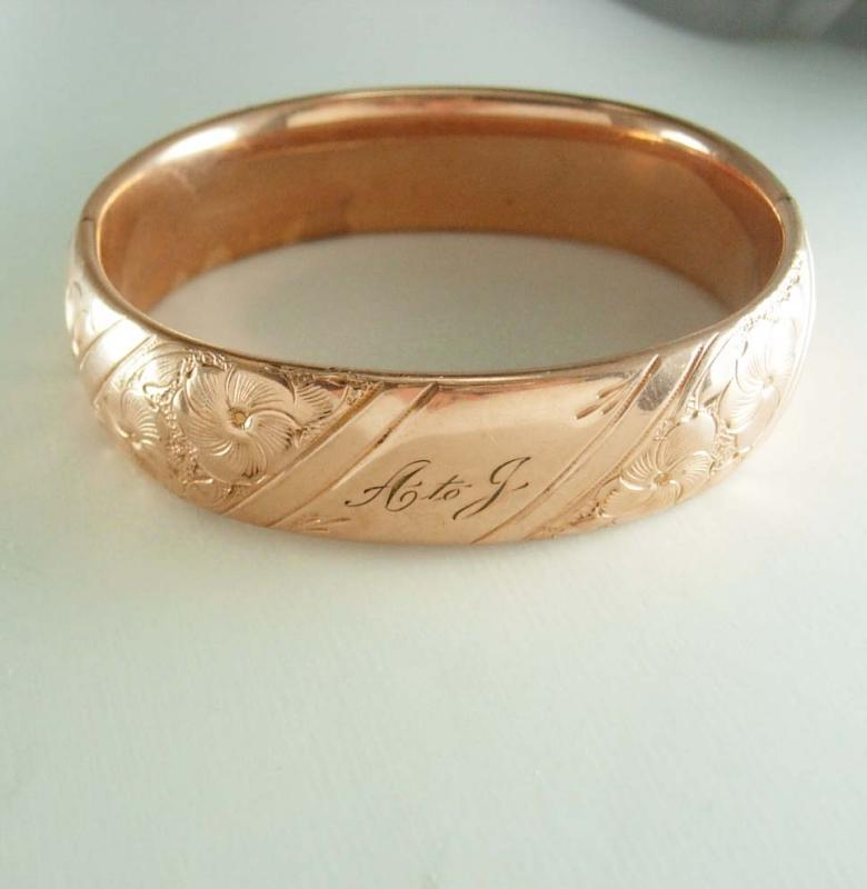 Antique ROSE gold filled WIDE Victorian bracelet sweetheart bangle Ornate design