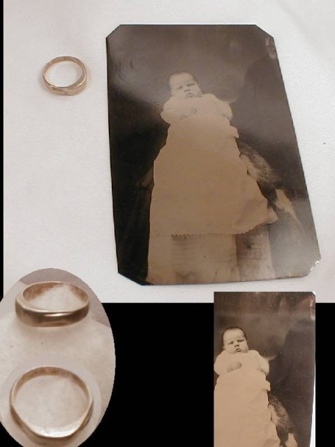 1800's BABY white gold RING AND TINTYPE baby