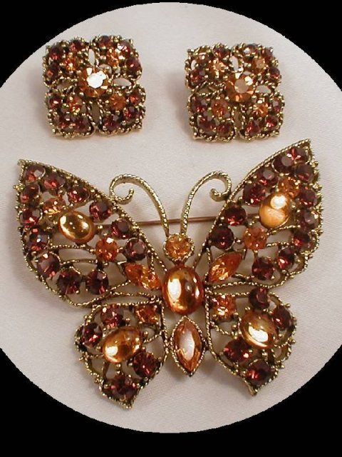LARGE Golden  GLASS Butterfly BROOCH & ER