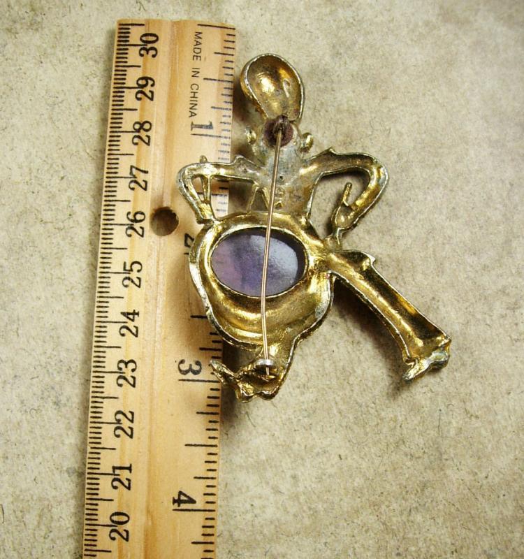 RARE JELLY BELLY ENamel monkey brooch