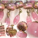 Victorian PINK Czech Blown GLASS Parure & ER