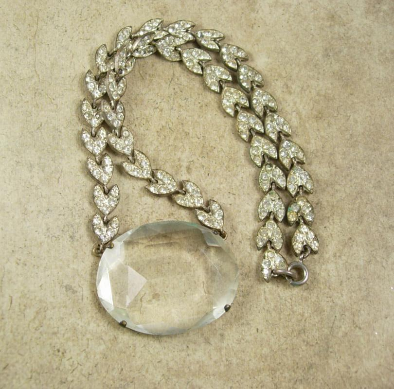 Vintage 1920s HUGE  Art DECO Necklace Faceted Crystal GLASS pendant paste rhinestone chain
