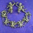 RARE Antique STERLING CHERUB Parure Silver bracelet earrings 2 Brooch putti Victorian angels 4pc set