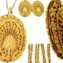 Antique Locket * Victorian Fancy Filigree * large keepsake necklace * Vintage photos children