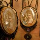 Vintage St Anne and Child Portrait Icon Virgin Mary Necklace filigree and jewels in swags of brass