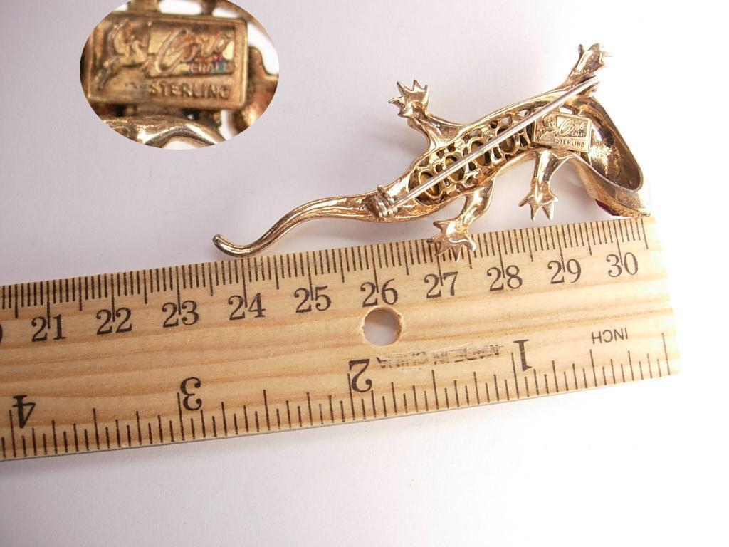 1946 Vintage signed sterling Coro Lizard Brooch paste rhinestone gecko or salamander