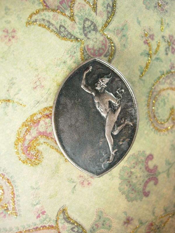 Vintage Figural Brooch winged Hermes Mythical Unusual Silver