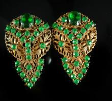 AWESOME DECO Czech Glass Fancy Duette LARGE dress clips rhinestones and brass