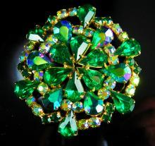 Vintage Brooch Huge Rhinestone Aurora borealis blue green cluster flower statement gold pin