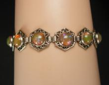 ART DECO Bracelet Hauntingly beautiful Jelly opal dragons BREATH Bracelet 1920's vintage Mexican silver filigree Loads of fire