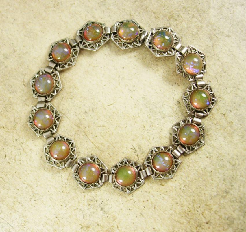 ART DECO Bracelet Hauntingly beautiful Jelly opal dragons BREATH Bracelet 1920's vintage Mexican silver filigree Loads of fire