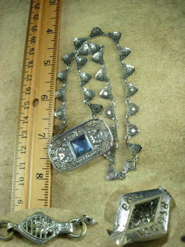 Vintage Art deco Signed necklace Filigree and paste stones HUGE blue centerpiece