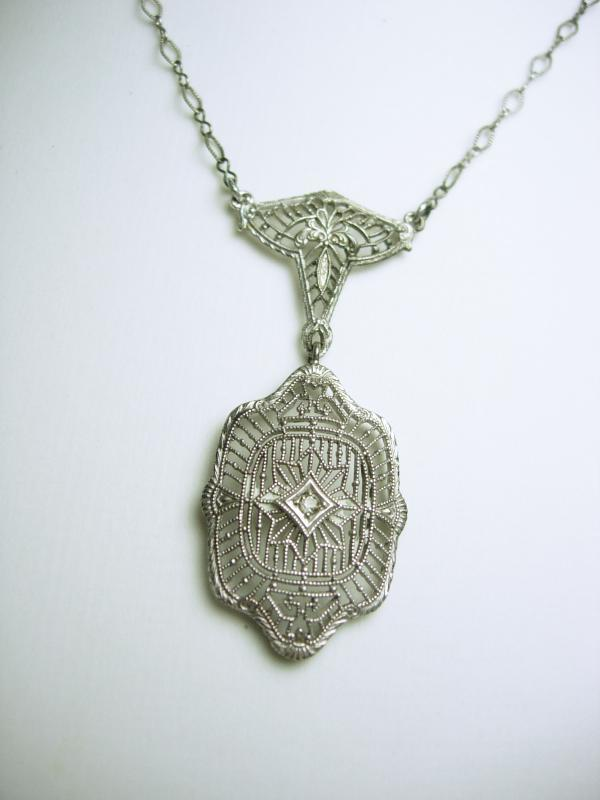1920s Art deco Necklace Filigree Paste choker Gorgeous detailing Original Paste rhinestone
