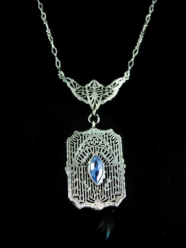 Vintage sterling Art Deco necklace filigree pendant with blue glass marquise stone