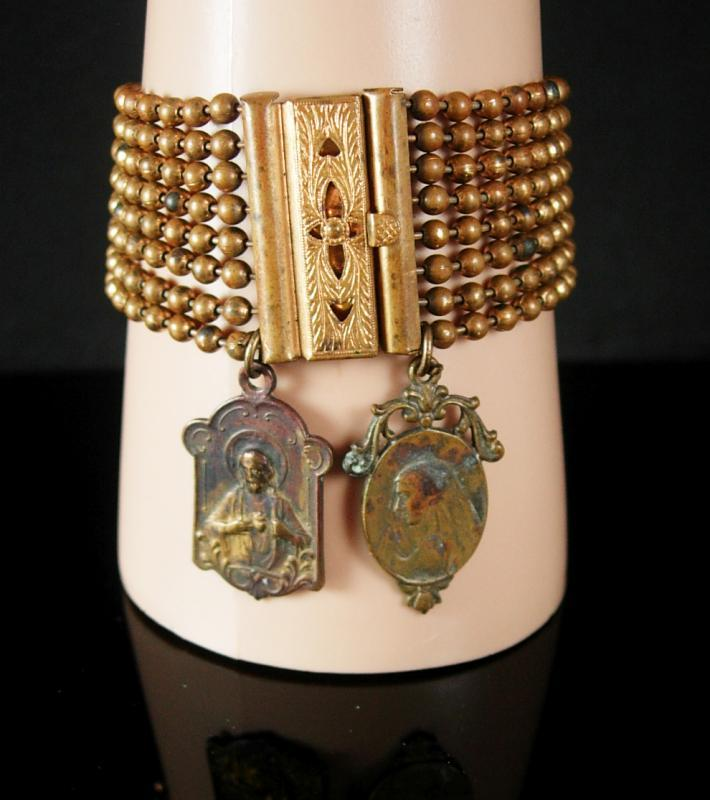 Antique Victorian bracelet with French religious medals fobs WIDE 8 row fancy clasp vintage charm