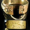 Victorian Bracelet GORGEOUS Guilloche enamel LAYERED hinged bracelet ornate Vintage Wedding bangle with original chain