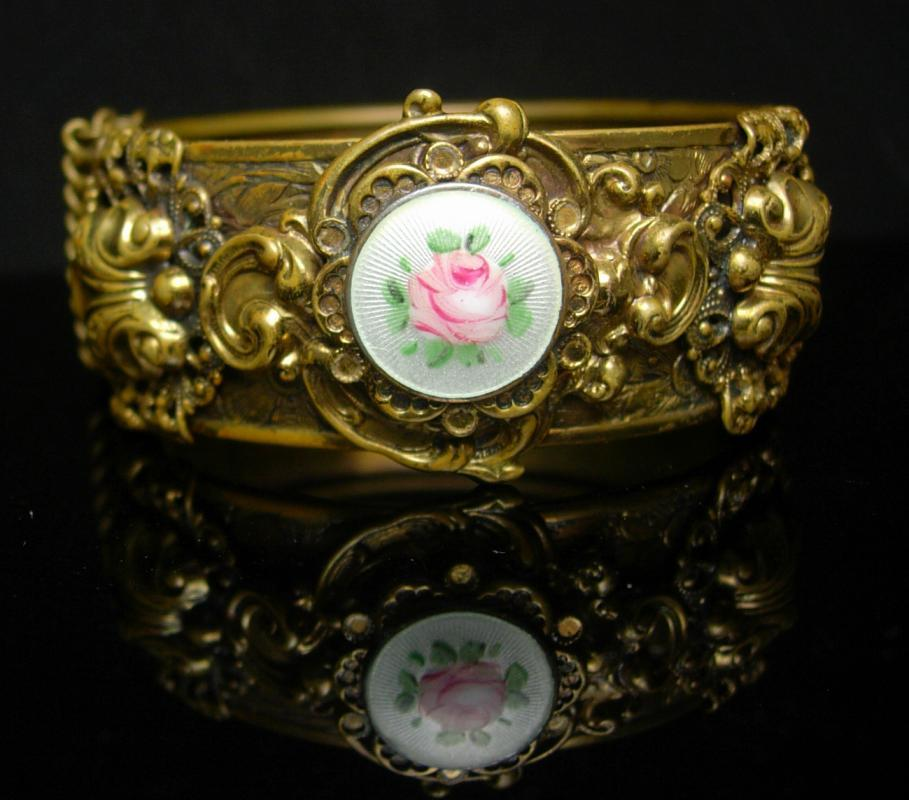 Victorian Bracelet GORGEOUS Guilloche enamel LAYERED hinged bracelet ornate Vintage Wedding bangle with original chain