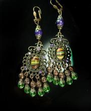Bohemian Hippie Earrings Dramatic Renaissance genuine Amethyst Chandelier and Agate shoulder duster pierced drops