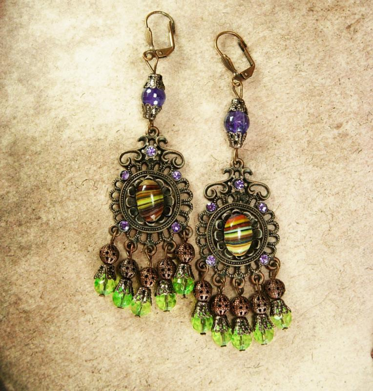 Bohemian Hippie Earrings Dramatic Renaissance genuine Amethyst Chandelier and Agate shoulder duster pierced drops