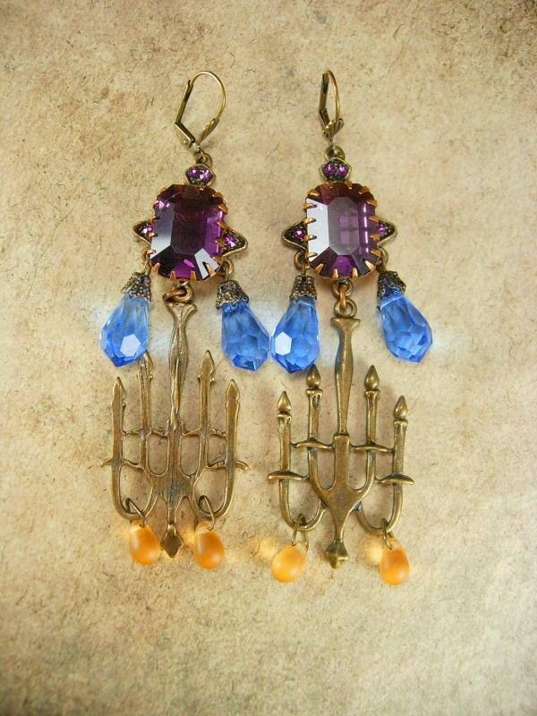 GOthic LONG Amethyst glass candelbra spooky kinda girl earrings