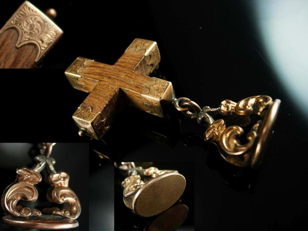Antique 14kt rose GOLD Victorian Cross Fob Brooch Victorian 1800's religious jewelry fancy end caps