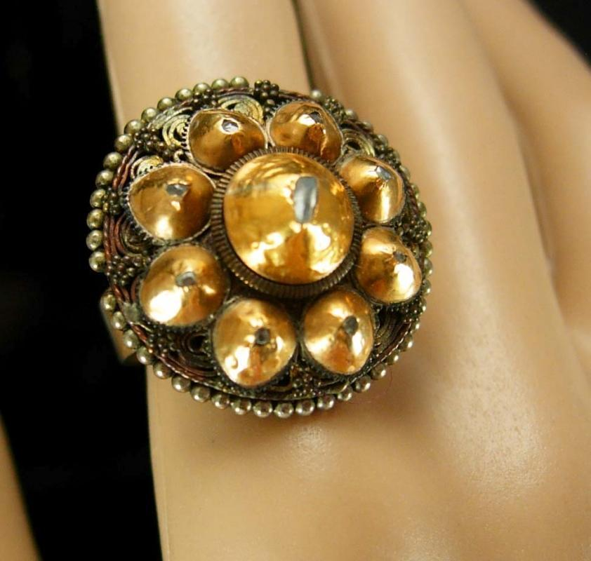 Vintage 9 Diamond ring With bizarre history genuine stones size 8 9 gold one of a kind cluster 14kt gold harem jewelry