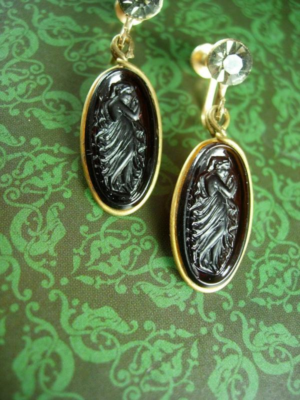 Antique Earrings Art NOUVEAU amber glass cameo Goddess Smoky topaz vintage tops Screw back on gold filled dangle drops