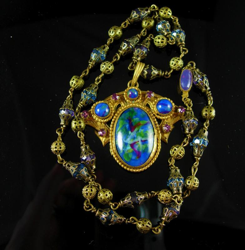 Vintage Art Nouveau Necklace Czech art glass and brass peacock colors Antique jewelry purple paste rhinestones