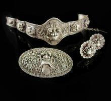 Antique demon queen Rangda Bracelet Brooch Earrings Silver etruscan Balinese demi parure Goddess jewelry