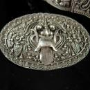 Antique Qing Dynasty Foo Dog  Bracelet Brooch Silver etruscan Chinese demi parure