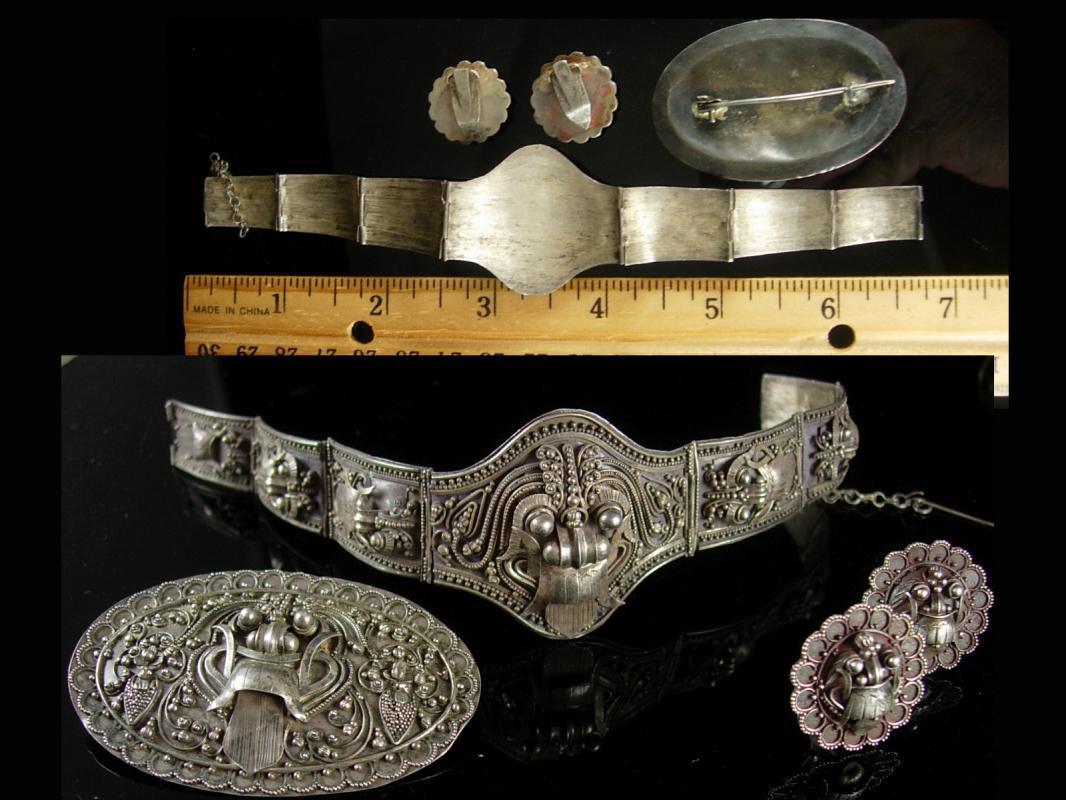 Antique demon queen Rangda Bracelet Brooch Earrings Silver etruscan Balinese demi parure Goddess jewelry