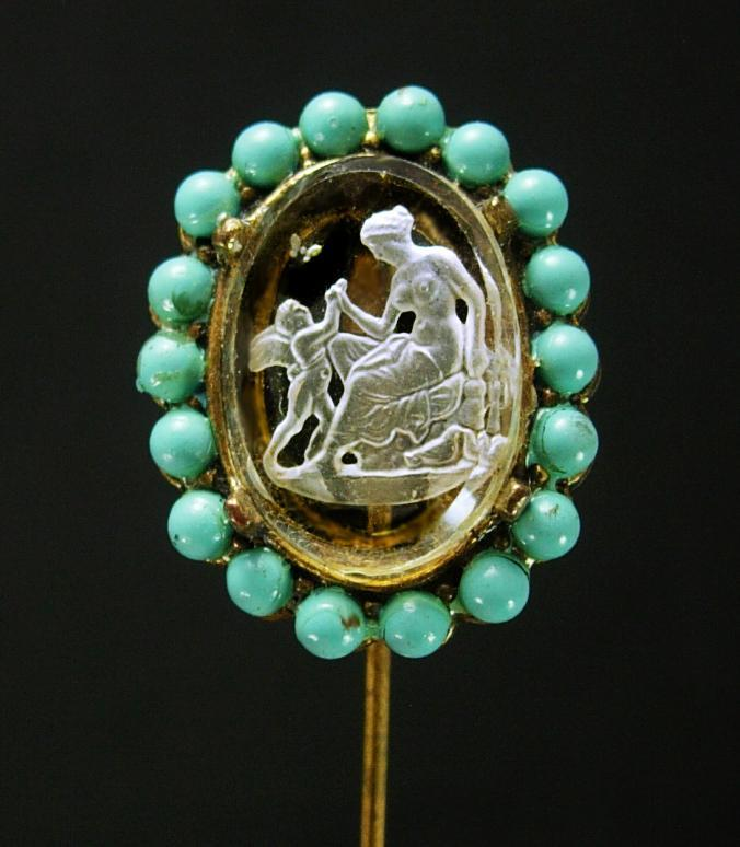 Antique Nude Stickpin Turquoise Bavarian crystal Reverse carved glass intaglio Edwardian Cupid Stick lapel  pin Venus stickpin