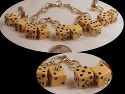 1940's BAkelite DICE Bracelet and Earrings