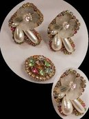 GLITZY HUGE rhinestone earrings and Rhinestone BROOCH