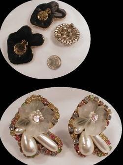 GLITZY HUGE rhinestone earrings and Rhinestone BROOCH