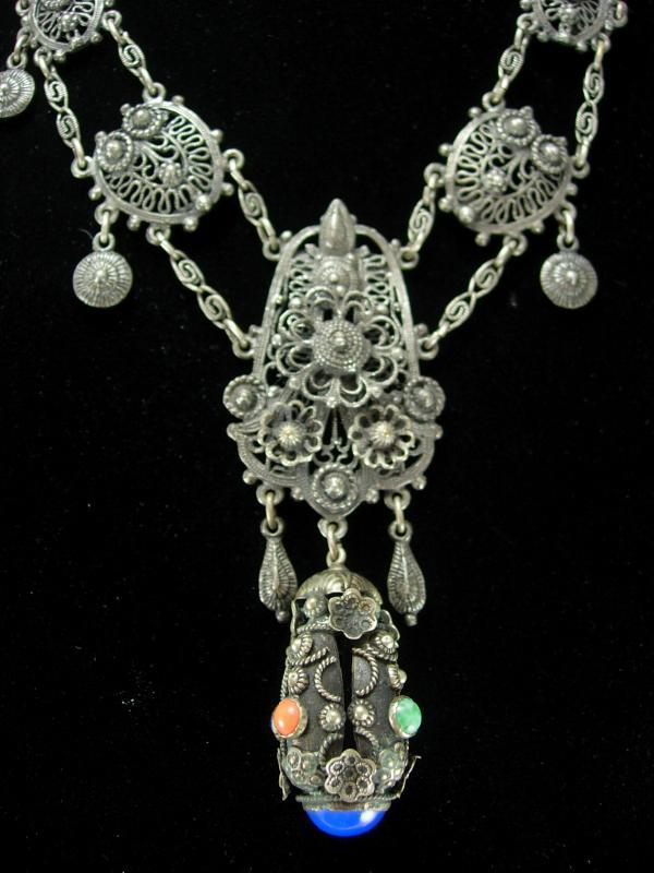 Antique  Etruscan necklace Sterling fob Girandole coral lapis stones Georgian jewelry vintage grand statement necklace