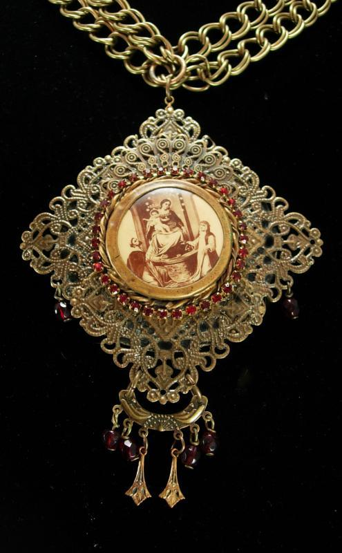 Vintage French Necklace LARGE religious antique icon Red garnet victorian portrait necklace BIG statement necklace