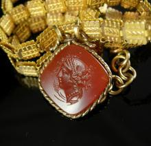 Victorian bookchain Necklace Carnelian intaglio cameo medusa ornate gold chain antique estate jewelry