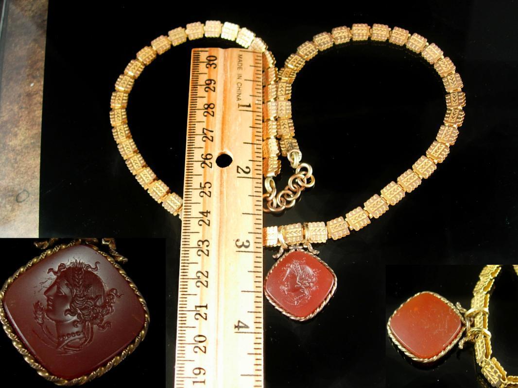 Victorian bookchain Necklace Carnelian intaglio cameo medusa ornate gold chain antique estate jewelry