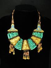 Vintage Egyptian revival necklace Turquoise deco 1920's Egypt Cleopatra jewelry HEAD enamel Collar Queen NEFERTITI