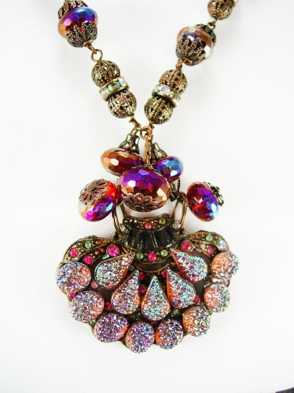 Vintage Lava Glass Filigree Necklace Fire like colors Sugar stones Purple pink Germany clasp rhinestone rondells Peacock colors
