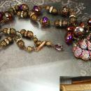 Vintage Lava Glass Filigree Necklace Fire like colors Sugar stones Purple pink Germany clasp rhinestone rondells Peacock colors