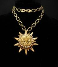 Goddess necklace nouveau rhinestone face with Sun pendant Gold statement jewelry
